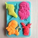 preiswerte Backzubehör & Geräte-Weihnachtsbaum Glocke Geschenk Bär Fondantkuchen Schokolade Silikonform Kuchen Dekorationswerkzeuge, l10.6cm * w7.3cm * h1.1cm