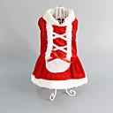 hesapli Köpek Giyim ve Aksesuarları-Kedi Köpek Elbiseler Köpek Giyimi Kırmzı Pamuk Kostüm Evcil hayvanlar için Kadın's Düğün Noel