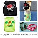 رخيصةأون ساعات الرجال-قط كلب T-skjorte ملابس الكلاب هندسي مطبوعة بأحرف وأرقام قوس قزح قطن كوستيوم من أجل الصيف الكوسبلاي الزفاف