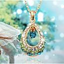 baratos Colares-Mulheres Cristal Colares com Pendentes - Strass Caído Fashion Branco, Fúcsia, Azul Colar Para Casamento, Festa, Diário