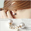 Buy Stud Earrings Pearl Imitation Gold Plated Flower White Black Jewelry Wedding Party Daily Casual