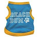저렴한 강아지 의류 & 악세사리-고양이 강아지 티셔츠 강아지 의류 문자와 숫자 블루 면 코스츔 애완 동물 여름