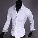 رخيصةأون كنزات هودي رجالي-رجالي عمل الأعمال التجارية قميص, لون سادة نحيل / كم طويل