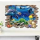hesapli Kolyeler-Hayvanlar 3D Duvar Etiketler 3D Duvar Çıkartması Dekoratif Duvar Çıkartmaları, Vinil Ev dekorasyonu Duvar Çıkartması Duvar