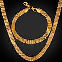preiswerte Armbänder-Herrn Schmuck-Set - Edelstahl, vergoldet Einschließen Gold / Weiß Für Hochzeit Party Alltag / Halsketten / Armband