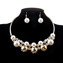 cheap Rings-Women's Pearl Hollow Jewelry Set - Pearl, Imitation Pearl, Imitation Diamond Luxury, Fashion Include Necklace / Earrings Golden For Wedding Party Daily