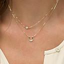hesapli Kadın Saatleri-Kadın's Monogramlar katmanlı Kolyeler - Simüle Elmas Çift katman, Moda, ilk Takı Altın Kolyeler Mücevher Uyumluluk Özel Anlar, Doğumgünü, Hediye