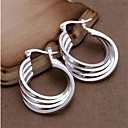cheap Earrings-Women's Hoop Earrings - Sterling Silver Personalized, Fashion White For Wedding Party Daily / 2pcs