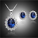 저렴한 커프링크-합성 사파이어 쥬얼리 세트 모조 큐빅, 은 도금, 모조 다이아몬드 숙녀, 사치, 파티, Plaited 포함 블루 제품 파티 생일 약혼 선물 / 귀걸이 / 목걸이