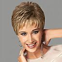 hesapli Makyaj ve Tırnak Bakımı-Sentetik Peruklar Dalgalı Bantlı Sentetik Saç Yan Parti / Patlama ile Sarışın Peruk Kadın's Şort Bonesiz
