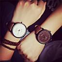 levne Dámské-Pro páry Náramkové hodinky Křemenný 30 m Hodinky na běžné nošení PU Kapela Analogové Vintage Módní Hnědá - Bílá Hnědá