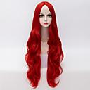 hesapli Balık Zokaları ve Sinekleri-Sentetik Peruklar Dalgalı / Gevşek Dalgalar Sentetik Saç Orta Bölüm Peruk Kadın's Çok uzun Bonesiz Kırmızı