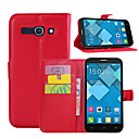 cheap Other Cases-Case For Alcatel Alcatel Case Card Holder Wallet with Stand Flip Full Body Cases Solid Color Hard PU Leather for