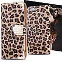 hesapli Köpek Giyim ve Aksesuarları-Pouzdro Uyumluluk Apple iPhone X / iPhone 8 / iPhone 8 Plus Cüzdan / Kart Tutucu / Taşlı Tam Kaplama Kılıf Leopar Desenli Sert PU Deri için iPhone X / iPhone 8 Plus / iPhone 8