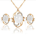 Buy Jewelry Set Cute Party Style Pearl Imitation Rhinestone Silver Plated Alloy Necklace Earrings