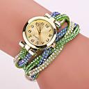 hesapli Bilezikler-Xu™ Kadın's Moda Saat Bilezik Saat Quartz Gündelik Saatler imitasyon Pırlanta PU Bant Analog Çiçek Mat Siyah Bohem Siyah / Beyaz / Mavi - Mavi Açık Mavi Açık Yeşil