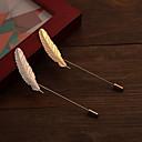 hesapli Vücut Takıları-Broşlar - Platin Kaplama, Altın Kaplama Krzyż, Kuş tüyü Moda Broş Gümüş / Altın Uyumluluk Düğün / Parti / Günlük
