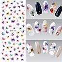 billige Smykkesett-1 pcs 3D Negle Stickers Negle Smykker Vannoverføringsklistre Neglekunst Manikyr pedikyr Blomst / Mote Daglig / PVC / Nail Smykker / 3D Nail Stickers