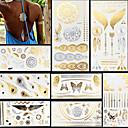 ieftine Tattoo Tips-8 pcs Metalic Acțibilde de Tatuaj Tatuaje temporare Serie de totemuri / Serie de Animale / Serie de Flori Rezistent la apă / Blitz / Dantelă Arta corpului Faţă / mâini / braț / Strălucire / Model