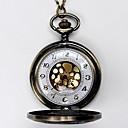 baratos Relógios Femininos-Homens Relógio de Bolso Quartzo Gravação Oca Lega Banda Analógico Amuleto Amarelo
