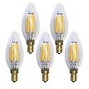 hesapli Fırın Araçları ve Gereçleri-KWB 5pcs 6W 600 lm E14 LED Filaman Ampuller C35 6 led COB Su Geçirmez Dekorotif Sıcak Beyaz AC 220-240 V