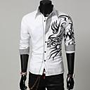 رخيصةأون الطباعة على الأظافر-رجالي قطن قميص نحيل ياقة كلاسيكية ترايبال أسود XL / كم طويل