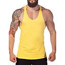 저렴한 귀걸이-남성용 솔리드 라운드 넥 슬림 플러스 사이즈 베이직 - 탱크 탑, 활동적 스포츠 면 / 민소매