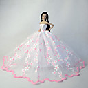 preiswerte Barbie Kleidung-Hochzeit Kleider Für Barbie-Puppe Spitze Organza Kleid Für Mädchen Puppe Spielzeug
