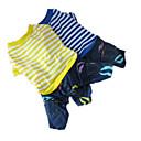 رخيصةأون ملابس وإكسسوارات الكلاب-كلب حللا ملابس الكلاب مخطط أصفر أزرق قطن كوستيوم من أجل ربيع & الصيف رجالي نسائي