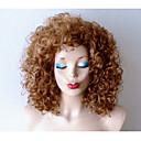 hesapli Makyaj ve Tırnak Bakımı-Sentetik Peruklar Bukle Sarışın Sentetik Saç Koyu Renk Kökler / Doğal saç çizgisi Sarışın Peruk Kadın's Orta uzunluk Bonesiz