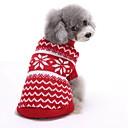 hesapli Köpek Giyim ve Aksesuarları-Kedi Köpek Kazaklar Noel Köpek Giyimi Çizgi Kırmzı Mavi Pamuk Kostüm Evcil hayvanlar için Erkek Kadın's Sevimli Yeni Yıl'ınkiler