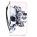 cheap iPhone Cases-Case For Apple iPhone X / iPhone 8 / iPhone 7 Card Holder / Pattern Full Body Cases Skull Hard PU Leather for iPhone X / iPhone 8 Plus / iPhone 8
