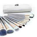hesapli Makyaj ve Tırnak Bakımı-12pcs Makyaj fırçaları Profesyonel Fırça Setleri Keçi Kılı Fırça Tam Kaplama Ahşap