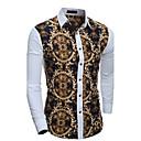 رخيصةأون قمصان رجالي-رجالي عتيق بقع قميص, ترايبال ياقة كلاسيكية نحيل / كم طويل / الربيع / الخريف