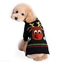 hesapli iPhone Yedek Parçaları-Kedi Köpek Kazaklar Köpek Giyimi Ren Geyiği Siyah Pamuk Kostüm Evcil hayvanlar için Erkek Kadın's Sevimli Tatil Noel