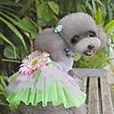 Недорогие Одежда для кошек-Кошка Собака Платья Одежда для собак Цветы Зеленый Розовый Ткань Костюм Для домашних животных Жен. Очаровательный Мода