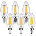저렴한 랜턴 & 텐트 조명-KWB 6PCS 6W 560lm E12 LED필라멘트 전구 C35 6 LED 비즈 COB 밝기조절가능 따뜻한 화이트 110-130V