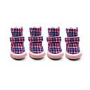 abordables Vêtements & Accessoires pour Chien-Chien Chaussures & Bottes Garder au chaud / Mode / Bottes de neige Tartan Rouge / Bleu / Rose Pour les animaux domestiques