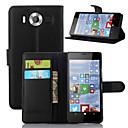 hesapli Nokia İçin Kılıflar / Kapaklar-Pouzdro Uyumluluk Nokia Lumia 520 / Nokia Lumia 630 / Nokia Lumia 950 Nokia Kılıf Cüzdan / Kart Tutucu / Satandlı Tam Kaplama Kılıf Solid Sert PU Deri için