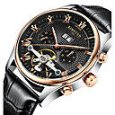 cheap Walkie Talkies-KINYUED Men's Skeleton Watch Wrist Watch Mechanical Watch Automatic self-winding Leather Brown 30 m Water Resistant / Waterproof Calendar / date / day Chronograph Analog Luxury Casual Dress Watch -