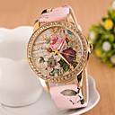 hesapli Kadın Saatleri-Kadın's Quartz Sahte Elmas Saat Bilek Saati Elbise Saat imitasyon Pırlanta PU Bant Çiçek Beyaz Kırmızı Pembe