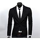 ieftine Brățări-Bărbați Muncă Primăvară Regular Blazer, Mată Rever Clasic Manșon Lung Poliester De Bază Negru / Bleumarin / Gri XL / XXL / XXXL / Business Formal / Zvelt