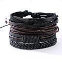 cheap Bracelets-Men's Leather Bracelet - Leather Vintage, Punk Bracelet Black For Anniversary / Gift / Sports