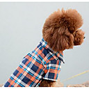 hesapli Köpek Giyim ve Aksesuarları-Köpek Tulumlar Köpek Giyimi Kareli Turuncu Kırmzı Mavi Pamuk Kostüm Evcil hayvanlar için Erkek Kadın's Günlük/Sade Moda
