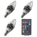 저렴한 LED 캔들 조명-3PCS 3 W 300-400 lm E14 LED 캔들 조명 1 LED 비즈 고성능 LED 밝기조절가능 / 리모컨 작동 RGB 12 V / 85-265 V / 3개