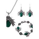 Buy Women's Jewelry Set Multi-stone Bohemian Adjustable Sideways Luxury Simple Style Gem Chrome Animal Shape 1 Necklace Pair Earrings