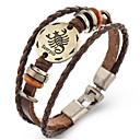 voordelige Armbanden-Dierenriem Lederen armbanden - Leder Schorpioen 24/10 - 22/11 Vintage Armbanden Bruin Voor Lahja