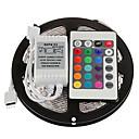 ieftine Set Becuri-ZDM® 5m Fâșii De Becuri LEd Flexibile / Bare De Becuri LED Rigide / Fâșii RGB 150 LED-uri 5050 SMD 1 Controler la distanță de 24 de taste RGB Rezistent la apă / Ce poate fi Tăiat / De Legat 12 V 1set