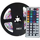baratos Fitas de LED-HKV 5m Faixas de Luzes LED Flexíveis 300 LEDs 3528 SMD RGB 12 V