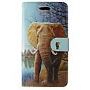 ieftine Machiaj & Îngrijire Unghii-Maska Pentru Samsung Galaxy A5(2017) A3(2017) Titluar Card Portofel Cu Stand Întoarce Carcasă Telefon Elefant Desene Animate Animal Moale